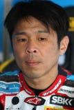 Noriyuki Haga #41 en BMW S1000 RR con el equipo WSBK de Grillini DENTALMATIC SBK Imagen de archivo libre de regalías