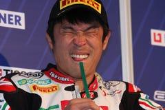 Noriyuki Haga - fabbrica di Aprilia RSV4 - corsa di PATA Immagini Stock Libere da Diritti