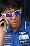 Noriyuki Haga #41 su BMW S1000 RR con il gruppo WSBK di Grillini DENTALMATIC SBK immagini stock