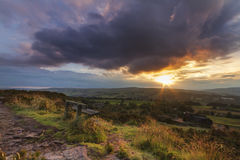 Norland moor sunset. Sunset over Norland moor, Halifax , West Yorkshire royalty free stock image