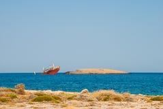 Norlandschipbreuk in Diakofti in Kythera-eiland in Griekenland Royalty-vrije Stock Foto's
