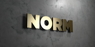 Norm - Gold sign mounted on glossy marble wall  - 3D rendered royalty free stock illustration Stock Photo