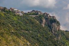 Norma historic village under dark clouds stock photography