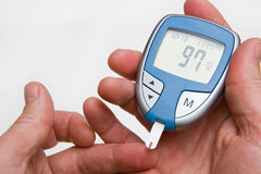 Normal Blood Sugar On Glucometer Royalty Free Stock Photo