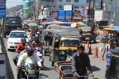 The normal Chaos Traffic of India Royalty Free Stock Images