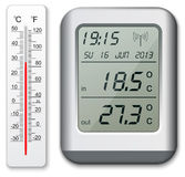 Normal and digital thermometer. Illustration Royalty Free Stock Image