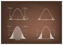 Normal Distribution Chart or Gaussian Bell Curve on Chalkboard Stock Photography
