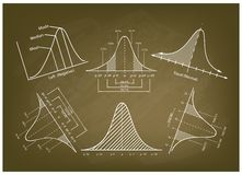 Normal Distribution Diagram or Bell Curve Charts on Blackboard Royalty Free Stock Images