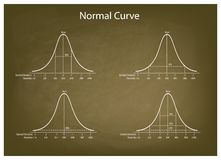 Normal Distribution Diagram on Green Chalkboard Background. Business and Marketing Concepts, Illustration Set of 4 Gaussian Bell Curve or Normal Distribution Stock Image