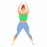 Normal eine kleine fette Frau, die Yoga tut Stockfotos