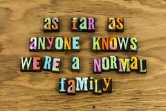 Normal family relationship humorous home. Letterpress typography message divorce stress love hate life together comedy joy happiness happy humor stock images