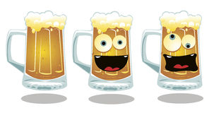 Normal and Funny Glasses of Beer Royalty Free Stock Images