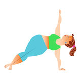 Normal a little fat woman doing yoga. Conventional bit thick woman does yoga. Health care and spiritual royalty free illustration