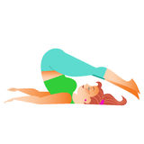 Normal a little fat woman doing yoga. Conventional bit thick woman does yoga. Health care and spiritual stock illustration