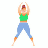 Normal a little fat woman doing yoga. Conventional bit thick woman does yoga. Health care and spiritual vector illustration