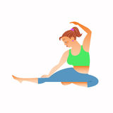 Normal a little fat woman doing yoga Royalty Free Stock Image