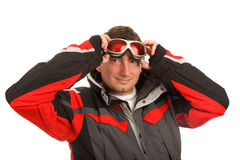 Normal man in ski goggles and ski jacket Stock Images
