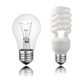 Normal and Saver Lightbulb with Reflection Stock Images