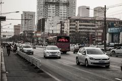 Normal street in taiyuan. A developing inland city of China Stock Images