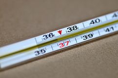 Normal temperature on thermometer stock images