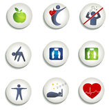 Normal weight, healthy eating and other icons. Healthy living symbols. Healthy food, fitness, no stress and healthy weight leads to healthy heart and life Stock Images