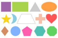 normala geometriska former På vitbakgrund Arkivbild