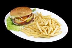 Normale burguer met frieten stock afbeelding