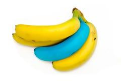 Gelbe und blaue Bananen Lizenzfreies Stockbild