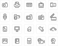 Normale Ikone eingestellt: Media Lizenzfreie Stockfotografie