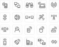 Normale Ikone eingestellt: Radioapparat und Technologie Lizenzfreie Stockfotografie