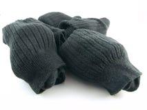 Normale schwarze Socken auf weißem Hintergrund Stockfoto