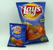 Normale Tasche und Minitasche von Lagen Paprika Chips stockfoto