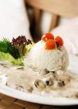 Normaler weißer Reis mit siamesischer Soße Stockfotografie