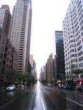 Normalerweise besetztes New York leer während des Hurrikans Stockfotos