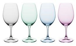 Normales u. farbiges Weinglas Stockbild