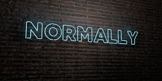 NORMALLY -Realistic Neon Sign on Brick Wall background - 3D rendered royalty free stock image Royalty Free Stock Photography