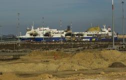 Norman atlantic fire brindisi castaways 30/12/2014 Royalty Free Stock Image