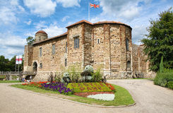 Norman Castle in Colchester. Medieval Norman castle and Castle Park gardens in spring, in Colchester, Essex, England, United Kingdom Stock Photography