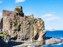 Norman castle and Islands of the Cyclops, Sicily Royalty Free Stock Photos