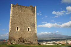 Norman castle in Sicily and volcano Etna Stock Images