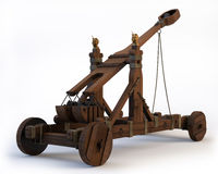 Norman Catapult. An ancient Norman Catapult isolated on a white background. Clipping path is included Stock Image