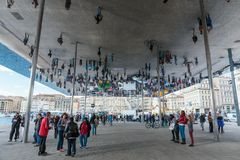 Norman Foster S Pavilion With Mirrored Ceiling. Royalty Free Stock Photos