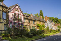 Norman houses. Norman half timbered houses in a village in Normandy  Le Bec-Hellouin Royalty Free Stock Image