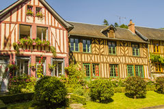 Norman houses. Norman half timbered houses in a village in Normandy Le Bec-Hellouin Stock Image