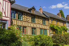 Norman houses. Norman half timbered houses in a village in Normandy  Le Bec Hellouin Royalty Free Stock Photography