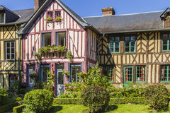 Norman houses. Norman half timbered houses in a village in Normandy  Le Bec Hellouin Stock Images