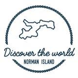 Norman Island Map Outline L'annata scopre Fotografia Stock