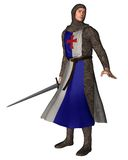 Norman Knight - 2. Digital render of a Norman knight in chain mail and tabard holding a sword Stock Photography