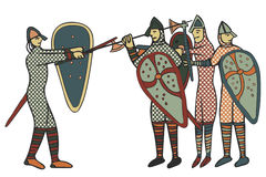 Norman Soldiers medieval style (Computer) artwork Stock Images