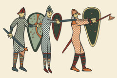 Norman Soldiers medieval style (Computer) artwork Royalty Free Stock Images